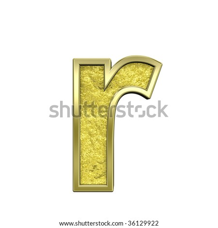 One lower case letter from gold cast alphabet set, isolated on white. Computer generated 3D photo rendering.