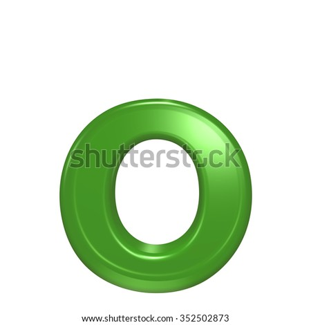 One lower case letter from green glass alphabet set, isolated on white. Computer generated 3D photo rendering.