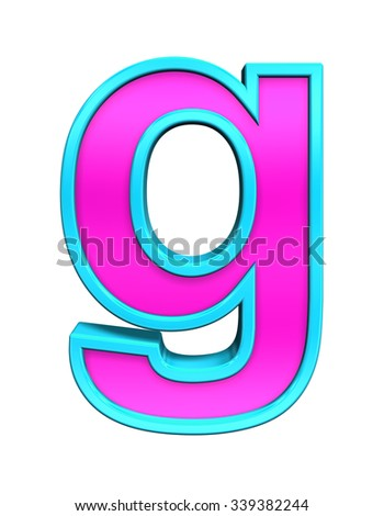One lower case letter from pink glass with blue frame alphabet set, isolated on white. Computer generated 3D photo rendering. - stock photo