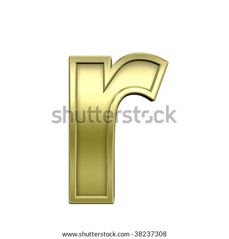 One lower case letter from shiny gold with gold frame alphabet set, isolated on white. Computer generated 3D photo rendering.