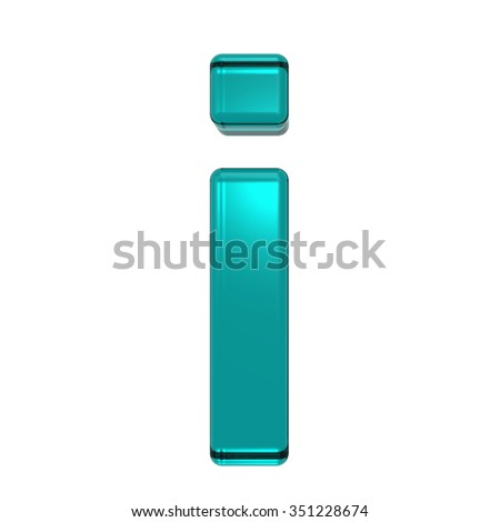 One lower case letter from turquoise alphabet set, isolated on white. Computer generated 3D photo rendering.