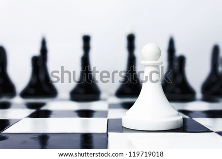 One man army in chess - stock photo
