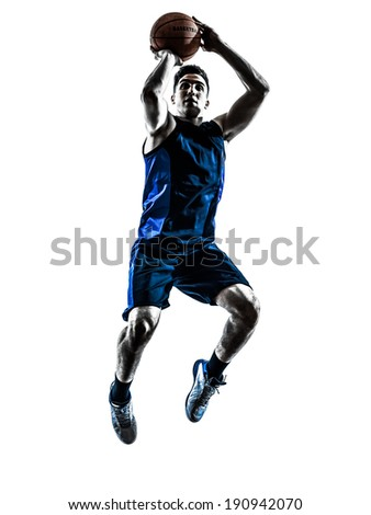 one  man basketball player jumping throwing in silhouette isolated white background - stock photo