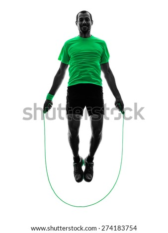 one man exercising jumping rope  fitness  in silhouette isolated on white background - stock photo