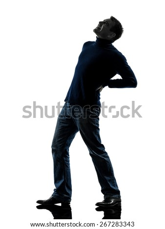 one  man full length in silhouette studio isolated on white background