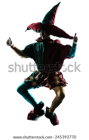 one  man in jester costume jumping silhouette in studio isolated on white background - stock photo