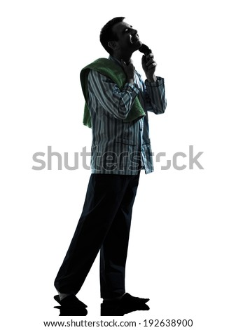 one man pajamas grooming shaving silhouettes on white background