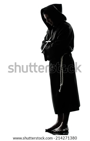 one  man priest praying silhouette in studio isolated on white background - stock photo