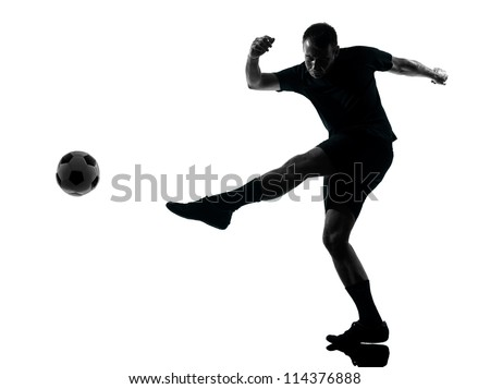 one man soccer player in studio silhouette isolated on white background