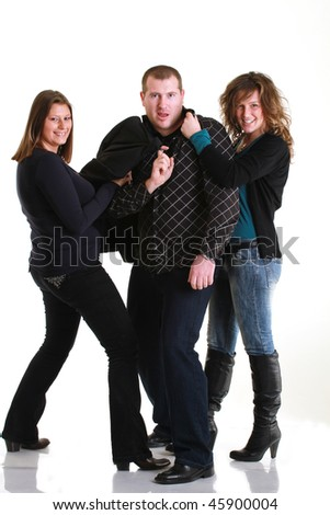 one man, two girls - stock photo