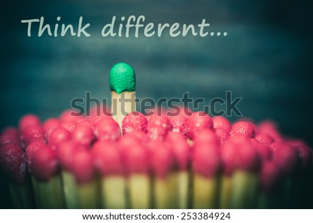 One match standing out from the crowd, leadership, difference concept - stock photo
