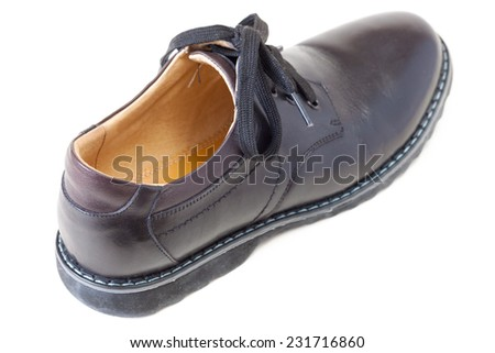 one men's black leather shoe - stock photo