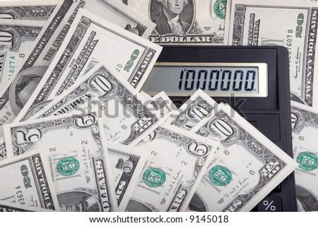 one million dollars on calculator - stock photo