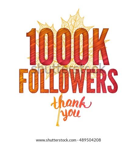 One million. 1000K. Thank you 1000000 followers card. Thanks design template for network friends and followers. Image for Social Networks. Web user celebrates subscribers and followers