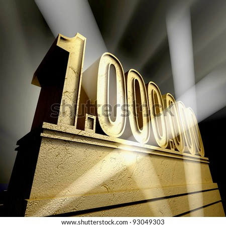 One million Number one million in golden letters on a golden pedestal - stock photo