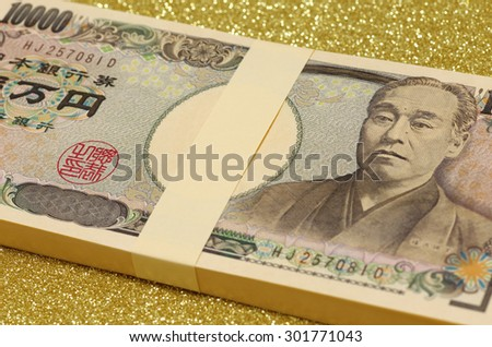 one million yen of wad , close up
