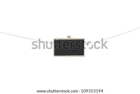 one mini chalkboard on a clothesline  isolated on a white background - stock photo