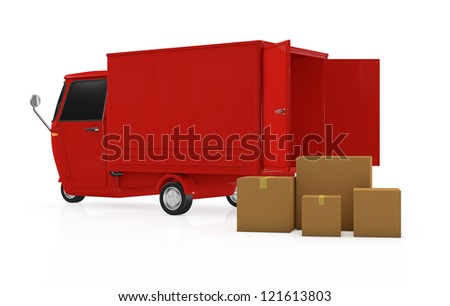 one mini truck with carton boxes (3d render)