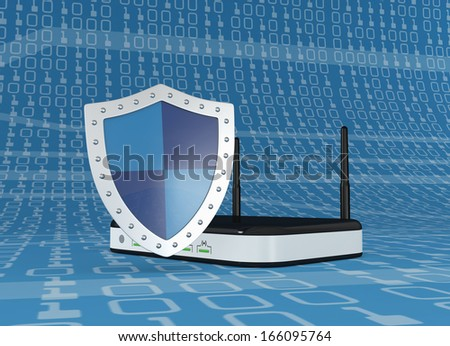 one modem router with a shield, concept of internet security (3d render) - stock photo