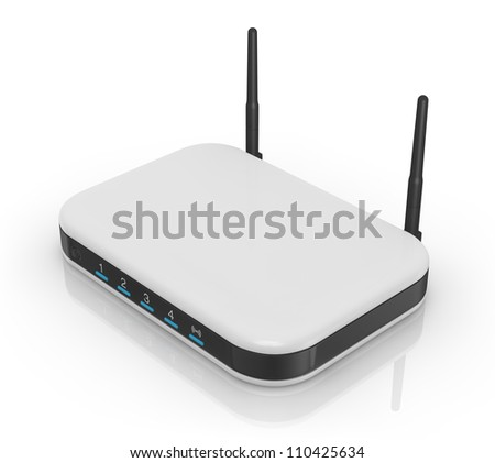 one modem router with two antennas for wireless network (3d render) - stock photo