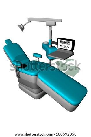 One modern dental chair in white background - stock photo