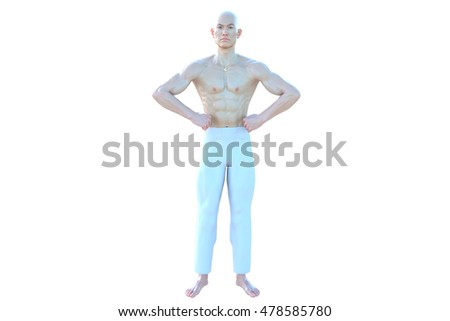 One muscular and bald Asian male. Posing standing looking at camera and holding hands on hips. 3D rendering, 3D illustration