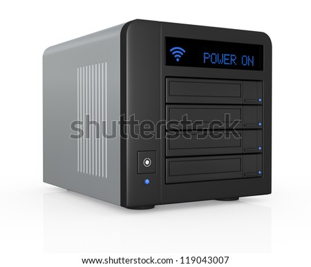 one nas (network attached storage) with four hard drives, powered on (3d render)