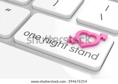 One night stand computer keyboard text with male and female sign on the computer keyboard - stock photo