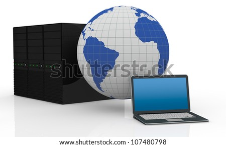 one notebook and three computer servers with a world globe, computer network and global communication (3d render)
