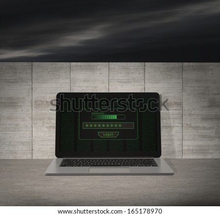 one notebook with a login screen and a wall on background, concept of firewall and computer protection (3d render) - stock photo