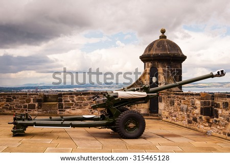 one o'clock cannon at edinburgh castle, scotland - stock photo