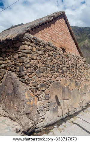 One of ancient houses of Ollantaytambo village, Sacred Valley of Incas, Peru - stock photo