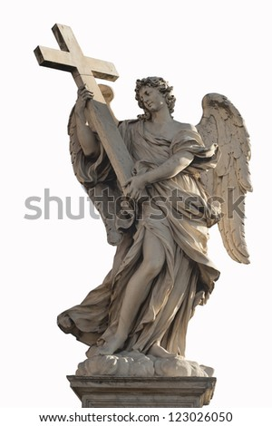 One of Bernini Angels on the ponte Sant'Angelo in Rome, Italy, seems to be standing on the clouds. - stock photo