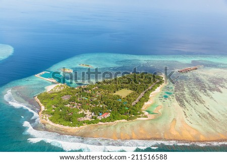 One of biggest Island resort in Maldives - stock photo