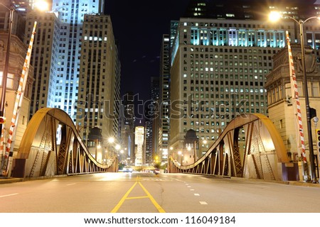 One of bridge in downtown of Chicago - stock photo