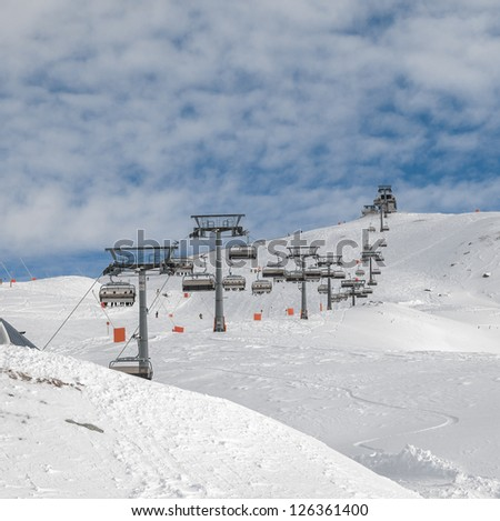 One of chair lifts in a ski resort of a valley of Zillertal - Mayrhofen region, Austria