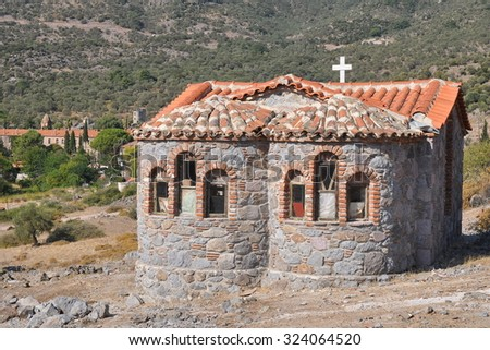one of chrches of Limonos monastery,Lesbos island,Greece - stock photo