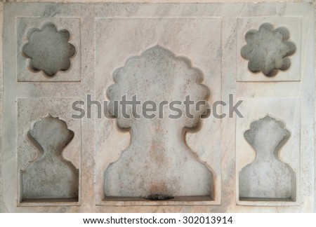 one of decoration in palace of Agra fort, India - stock photo