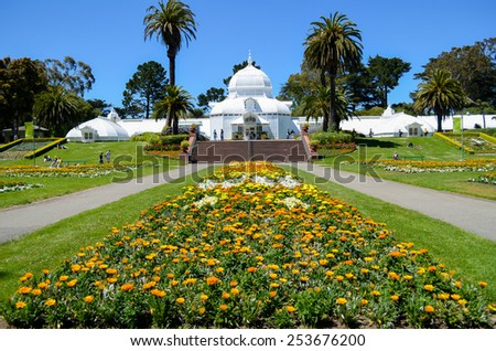 one of famous place in San Francisco, The  Conservatory of Flowers - stock photo