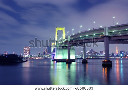 one of famous Tokyo landmarks, Tokyo Rainbow suspension bridge supports over night waters with scenic colourful illumination