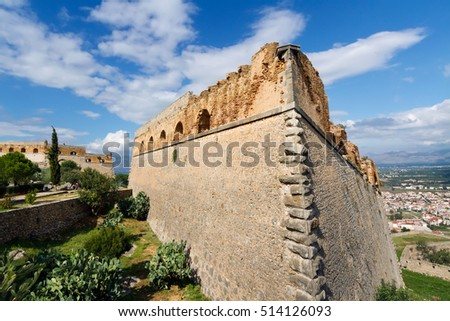 One of forts of a fortress of Palamidi and view on the city of Nafplion (Nafplio), Greece