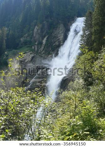 One of Krimml Waterfalls in Austrian Alps. Summertime. - stock photo