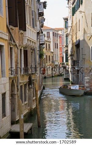 One of many canals with typical Venusian architecture in Venice Italy