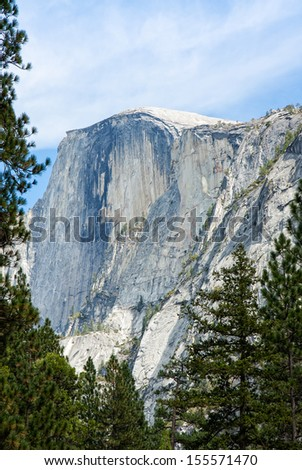 One of many famous sights at Yosemite National Park, this is a view of Half Dome from the valley floor.