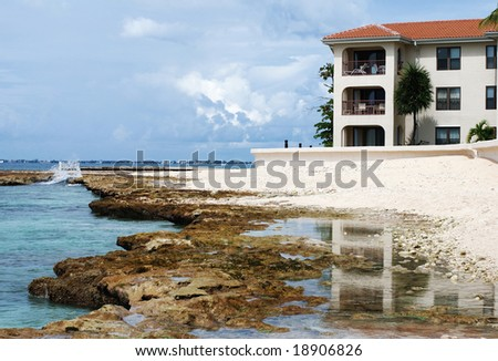 One of many resorts on Seven Mile Beach (Grand Cayman, British Virgin Islands).