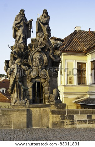 One of many statues on the Charles Bridge in Prague, Czech - stock photo
