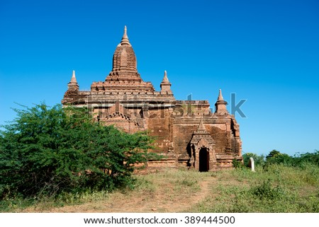 One of many temples in Bagan, Myanmar (Burma). - stock photo