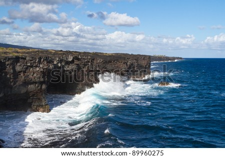 One of many volcanic coast line of the Big Island of Hawaii - stock photo