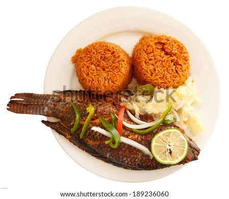 One of most popular food in Ghana, Jollof rice, serve with fish