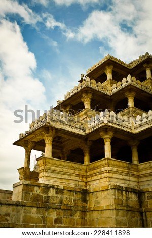 One of Ranakpur Jain temple entrances, Rajasthan, India - stock photo